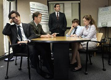 BJ Novak as Ryan, Rainn Wilson as Dwight, Steven Carell as Michael, John Krasinski as Jim and Jenna Fischer as Pam NBC's The Office Office
