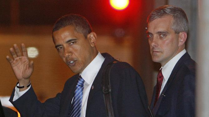 FILE - This Nov. 6, 2008 file photo shows then-President-elect Obama, accompanied by foreign policy adviser Denis McDonough leaving a meeting in Chicago. The White House says President Barack Obama has picked top national security aide Denis McDonough as his next chief of staff.  (AP Photo/Charles Dharapak, File)