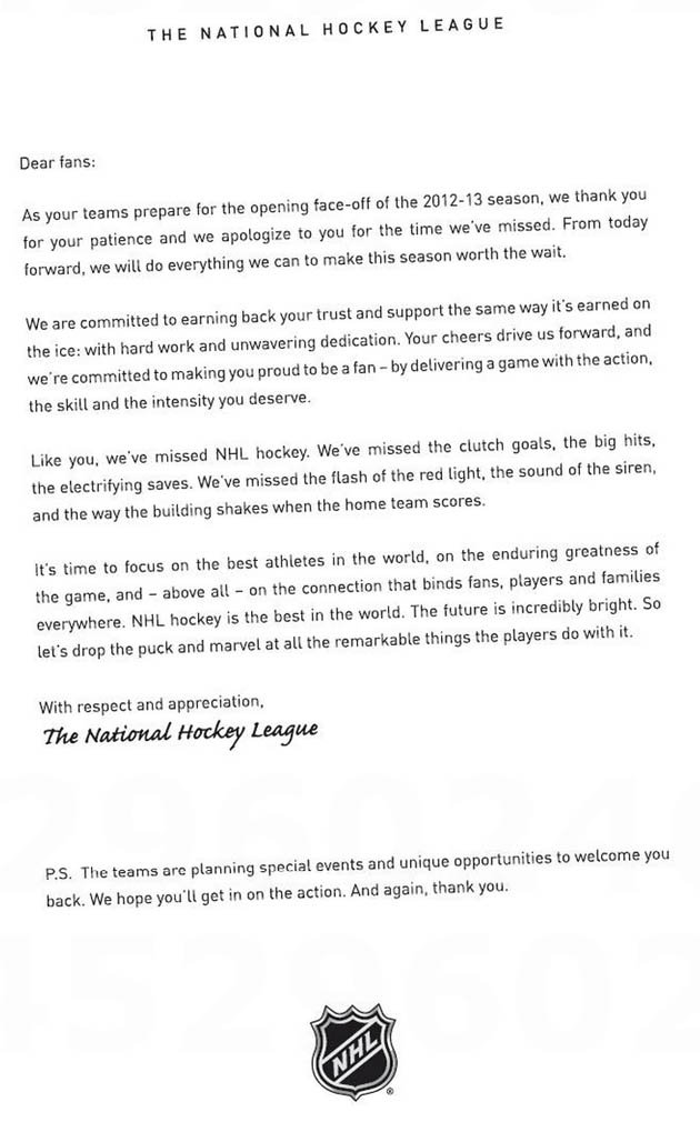 NHL uses full-page ad in newspapers to apologize to fans