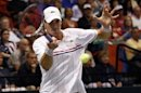 Isner of the U.S. hits a return to Serbia's Djokovic during their Davis Cup quarter-final tennis match in Boise
