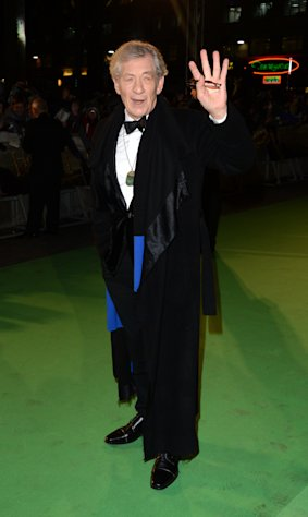 "Actor Ian Mckellen arrives at the UK premiere of ""The Hobbit: An Unexpected Journey "" at The Odeon Leicester Square, London on Wednesday, Dec. 12, 2012. (Photo by Jon Furniss/Invision/AP)"