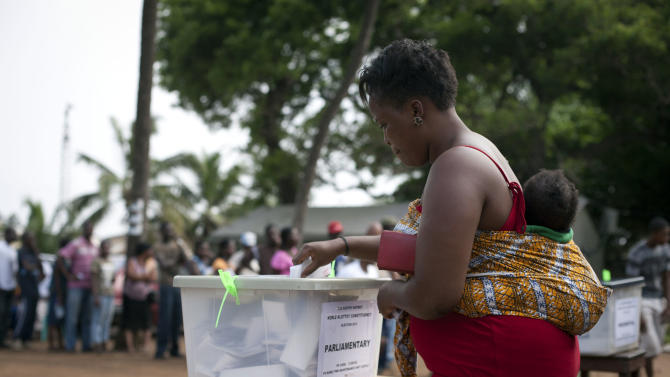 A woman casts her vote in parliamentary and presidential elections at an outdoor polling station in Accra, Ghana, Friday, Dec. 7, 2012. Ghanaians went to the polls Friday to choose between four candidates, including President John Dramani Mahama, who inherited the top post in July after President John Atta Mills died in office, and Nana Akufo-Addo, who lost the presidency by less than one percent to Mills in 2008. With its coup era over and five peaceful elections under its belt, Ghana is expected to hold a peaceful poll as voters decide which candidate will ensure the country's new-found wealth reaches the poor and middle-class. (AP Photo/Gabriela Barnuevo)