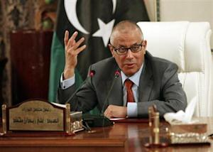 Libya's Prime Minister Ali Zeidan speaks during a joint news conference in Tripoli
