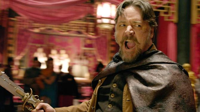 """This image released by Universal Pictures shows Russell Crowe in a scene from """"The Man With the Iron Fists.""""  (AP Photo/Universal Pictures)"""