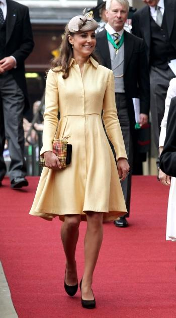 Catherine, Duchess of Cambridge leaves St Giles Cathederal after the Thistle Ceremony in Edinburgh, Scotland on July 5, 2012  -- Getty Images