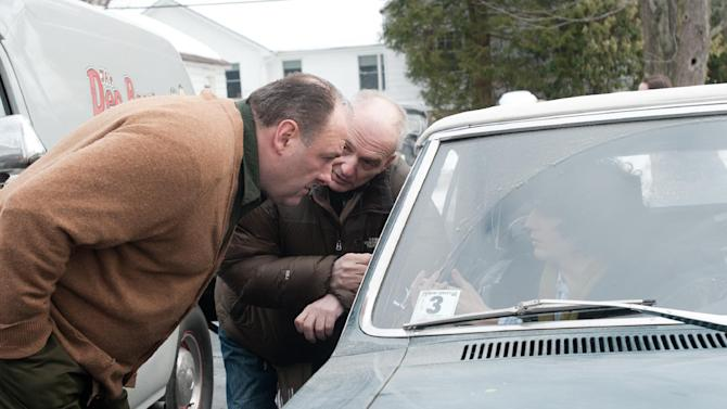 """This film image released by Paramount Vantage shows James Gandolfini, left, with writer-director David Chase during the filming of """"Not Fade Away."""" The film is Chase's first movie and his long-awaited follow-up to """"The Sopranos,"""" the venerated HBO drama he created and produced for six seasons. The '60s rock 'n' roll drama is set around a suburban teenager in New Jersey whose garage band aspires to be the next Rolling Stones, an ambition at odds with his traditional Italian father, played by James Gandolfini.  (AP Photo/Paramount Vantage, Barry Wetcher)"""