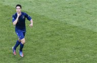 France's Nasri celebrates a goal against England during the Euro 2012 Group D soccer match at Donbass Arena in Donetsk