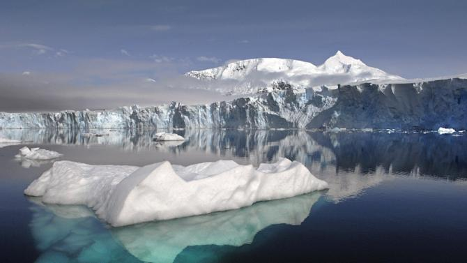 This image obtained from NASA on November 14, 2012 shows a view of Sheldon Glacier with Mount Barre in the background, seen from Ryder Bay near Rothera Research Station, Adelaide Island, Antarctica