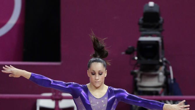 U.S. gymnast Jordyn Wieber performs on the balance beam during the Artistic Gymnastic women's qualifications at the 2012 Summer Olympics, Sunday, July 29, 2012, in London. (AP Photo/Julie Jacobson)