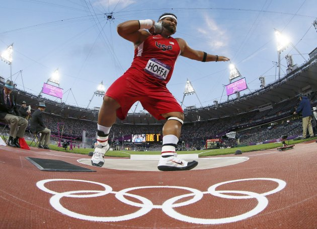 Reese Hoffa of U.S competes in men's shot put final at London 2012 Olympic Games