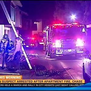 Arson suspect arrested after apartment fire, chase
