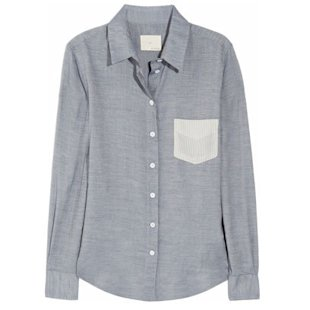 Stiped Pocket Cotton Blend Shirt Boy. By Band of Outsiders: Fashion Trend