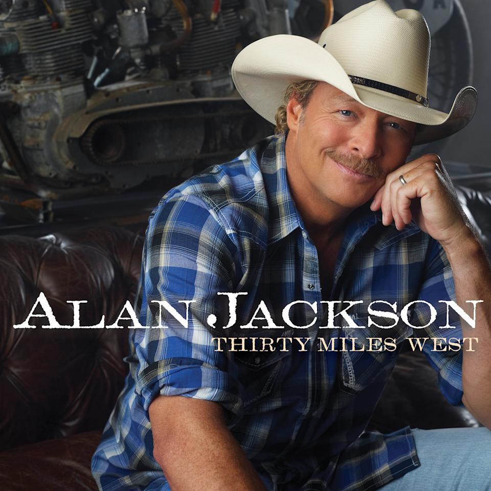 "This CD cover image released by ACR/EMI Nashville shows the latest release by Alan Jackson, ""Thirty Miles West."" (AP Photo/ACR/EMI Nashville)"