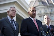 <p>Speaker John Boehner (R-OH) (center) speaks to the media, accompanied by Senate Majority Leader Harry Reid (D-NV) (L), and Senate Minority Leader Mitch McConnell (R-KY), at the White House after meeting with President Barack Obama and Vice President Joe Biden. Congress returns Monday and resumes talks with President Barack Obama on averting a looming fiscal crisis.</p>