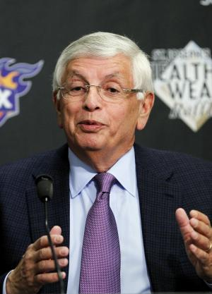 NBA Commissioner David Stern answers questions at a news conference prior to an NBA basketball game between the Phoenix Suns and the San Antonio Spurs Tuesday, March 27, 2012, in Phoenix.(AP Photo/Ross D. Franklin)
