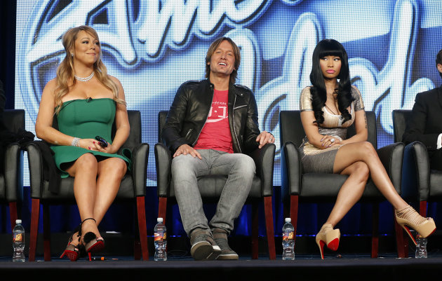 In this Jan. 8, 2013 photo, from left, Mariah Carey, Keith Urban and Nicki Minaj from &quot;American Idol&quot; attend the Fox Winter TCA Tour at the Langham Huntington Hotel, in Pasadena, Calif. &quot;American Idol&quot; returns Wednesday, Jan. 16, 2013, for season 12. (Photo by Todd Williamson/Invision/AP)