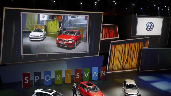 "Neusser, Chief developer of Volkswagen AG presents the new ""Sports Van"" during the Volkswagen group night at the Frankfurt motor show"
