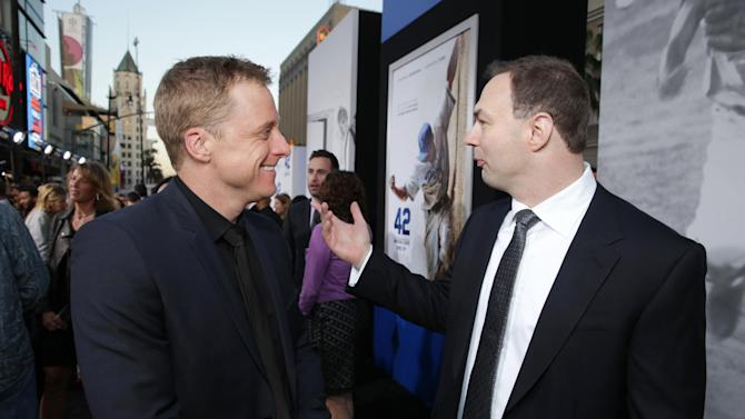 Alan Tudyk and Producer Thomas Tull at The Los Angeles Premiere of Warner Bros. Pictures' and Legendary Pictures 42, on Tuesday, April, 9th, 2013 in Los Angeles. (Photo by Eric Charbonneau/Invision for Warner Bros./AP Images)
