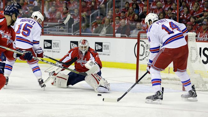 New York Rangers left wing Taylor Pyatt (14) prepares to get the puck and score a goal past Washington Capitals goalie Braden Holtby (70), in the second period, of Game 7 first-round NHL Stanley Cup playoff hockey series, Monday, May 13, 2013 in Washington. (AP Photo/Alex Brandon)