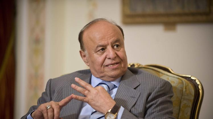 Yemeni President Abed Rabbo Mansour Hadi speaks during his meeting with Russian President Vladimir Putin in the Novo-Ogaryovo residence outside Moscow, Tuesday, April 2, 2013. (AP Photo/Natalia Kolesnikova, Pool)