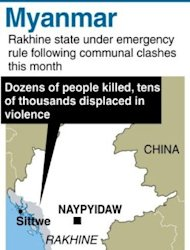 &lt;p&gt;Graphic showing Rakhine state in Myanmar where communal clashes this month have left dozens of people dead and tens of thousands displaced.&lt;/p&gt;