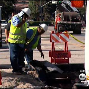 Work Continues To Fix Street, Broken Water Main Near UCLA