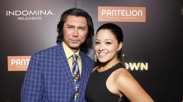 "Lou Diamond Phillips and Gina Rodriguez attend Pantelion's ""Filly Brown"" Los Angeles Premiere Hosted by the Rivera Family at the Regal LA Live Stadium on April 17, 2013 in Los Angeles. (Photo by Todd Williamson/Invision for Pantelion Films/AP Images)"