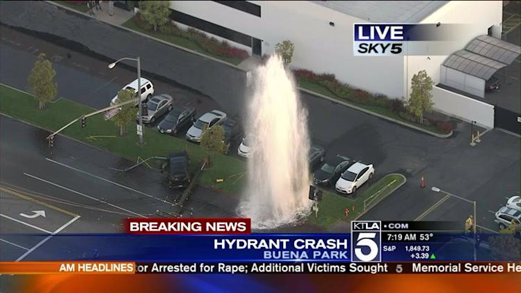 Buena Park Crash Leaves Hydrant Sheared, Power LInes Down