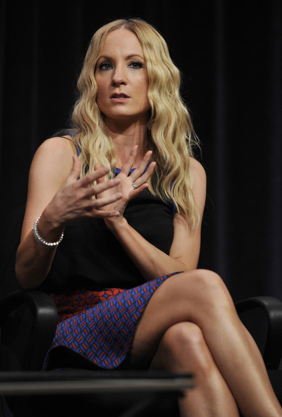 "Joanne Froggatt, a cast member in the Masterpiece series ""Downton Abbey,"" makes a point during a panel discussion on the show at the PBS Summer 2013 TCA press tour at the Beverly Hilton Hotel on Tuesday, Aug. 6, 2013 in Beverly Hills, Calif. (Photo by Chris Pizzello/Invision/AP)"