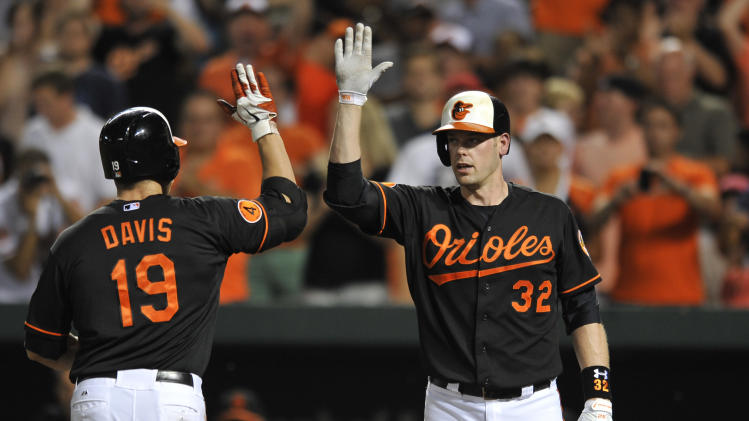 Baltimore Orioles' Chris Davis is congratulated by Matt Wieters after hitting a solo home run against the New York Yankees in the second inning of a baseball game, Sunday, June 30, 2013, in Baltimore. (AP Photo/Gail Burton)