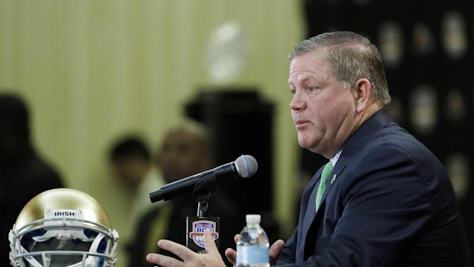 Notre Dame head coach Brian Kelly speaks during a news conference for the BCS National Championship college football game Sunday, Jan. 6, 2013, in Miami. (AP Photo/Chris O'Meara)