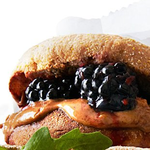 Almond Butter and Smashed Berry Sandwich