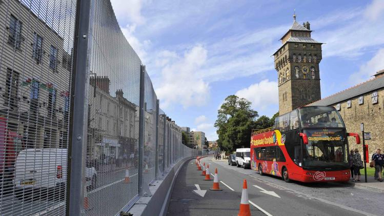 Security fencing, erected in preparation for the NATO Summit, is seen near Cardiff Castle in the centre of Cardiff