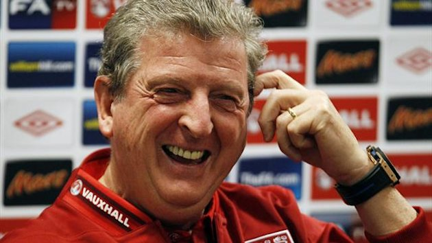 England's manager Roy Hodgson gestures during a news conference at the National Stadium in Warsaw
