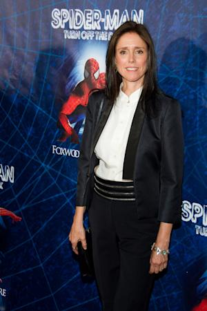 "FILE - In this June 14, 2011 file photo, Julie Taymor arrives at the opening night performance of the Broadway musical ""Spider-Man Turn Off the Dark"" in New York. Taymor has filed a lawsuit against the producers of ""Spider-Man: Turn off the Dark,"" alleging they violated her creative rights and haven't compensated her for the work she put into the musical. (AP Photo/Charles Sykes, file)"