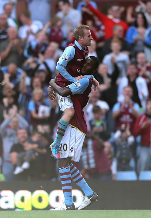 Christian Benteke, right, earned Paul Lambert's praise following his goal against Swansea