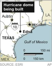 Map locates Edna, Texas