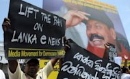 "A protests in Colombo last month against the detention of journalist Shantha Wijesooriya. An international rights group on Saturday called on Sri Lanka to stop ""harassing"" media organisations, a day after police shut down opposition news websites for allegedly carrying false reports"