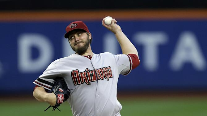 Arizona Diamondbacks starting pitcher Wade Miley pitches during the first inning of the baseball game against the New York Mets at Citi Field, Monday, July 1, 2013, in New York. (AP Photo/Seth Wenig)