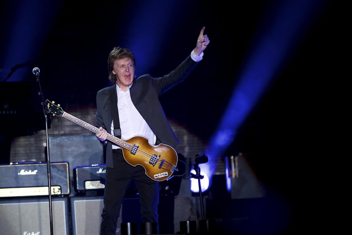 Sir Paul McCartney takes the stage for his performance at the Firefly Music Festival in Dover