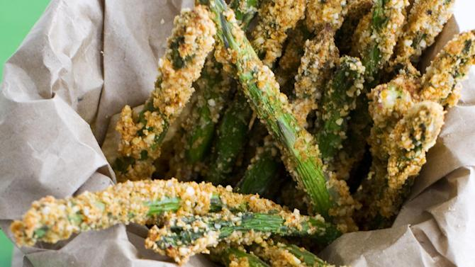 In this image taken on March 11, 2013, almond-crusted bake-fried asparagus is shown in Concord, N.H. (AP Photo/Matthew Mead)
