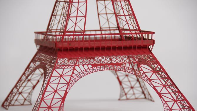 In this undated image released by Artifacture Studios, a laser-cut paper model of the Eiffel Tower is seen. (AP Photo/Artifacture Studios)