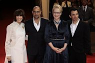 US director Nora Ephron (L) arrives with US actors Stanley Tucci (2ndL), Meryl Streep who starred in the food -oriented film &#39;Julie & Julia.&#39;