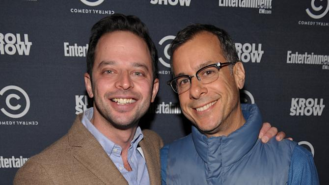 "Actor/comedian Nick Kroll, left, and Comedy Central's Head of Original Programming and Production Kent Alterman attend an exclusive screening of Comedy Central's ""Kroll Show"" hosted by Entertainment Weekly on Tuesday, January 15, 2013 at LA's Silent Movie Theatre in Los Angeles. (Photo by John Shearer/Invision for Entertainment Weekly/AP Images)"