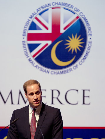Prince William, the Duke of Cambridge addresses the British Malaysian Chamber of Commerce lunch in Kuala Lumpur, Malaysia, Friday, Sept. 14, 2012. (AP Photo/Mark Baker)