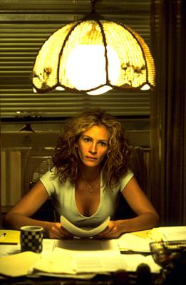 Julia Roberts stars as Erin Brockovich, a twice-divorced mother of three with no legal training who successfully signed 600 plaintiffs for a case against a major public utilities company in Universal's Erin Brockovich