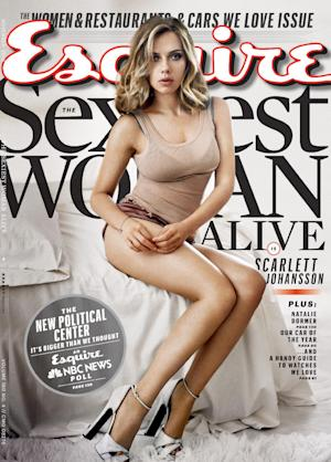 This cover image provided by Esquire magazine shows actress Scarlett Johansson on the cover of the November 2013 issue. The magazine hits newsstands on Oct. 15. Johansson has earned the title of Esquire magazine's sexiest woman alive, for a second time. She also won in 2006. (AP Photo/Esquire)