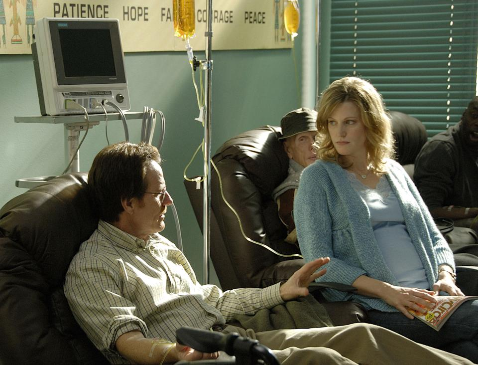 "This image released by AMC shows Walter White, played by Bryan Cranston, and his wfe Skyler White, played by Anna Gunn, during Walt's chemotherapy treatment during the first season of ""Breaking Bad."" The series finale of the popular drama series airs on Sunday, Sept. 29. (AP Photo/AMC, Ursula Coyote)"
