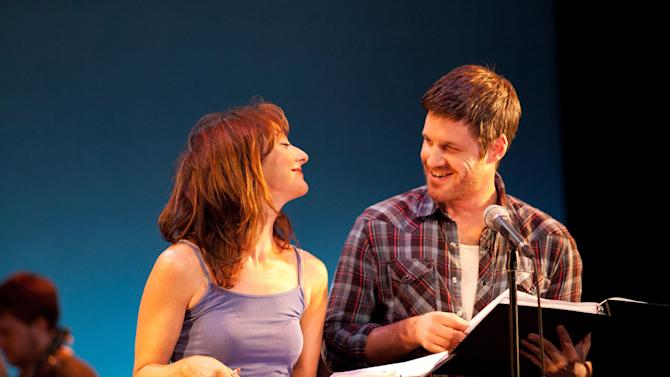 In this July 15, 2013 photo released by Vassar College, actors Carmen Cusack, left, and Michael Esper rehearse for the musical Bright Star at Powerhouse Theater in Poughkeepsie, N.Y. The 29th season of Powerhouse Theater wraps ups this weekend after eight weeks of rehearsals and productions. As in past years, the program has drawn a mix of established names like Steve Martin and lesser-known artists. (AP Photo/Powerhouse Theater/Buck Lewis)