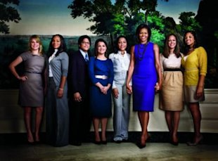 Photo credit: Matthias Vriens-McGrath for Glamour/ First lady Michelle Obama with White House interns